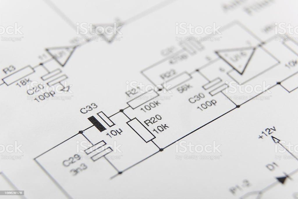 Electronic diagram stock photo