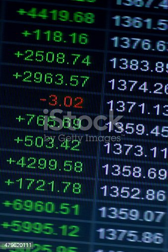 Electronic digital interface at a stock exchange or bourse showing
