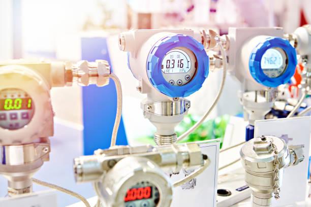 Electronic digital pressure gauge for precision measurements stock photo