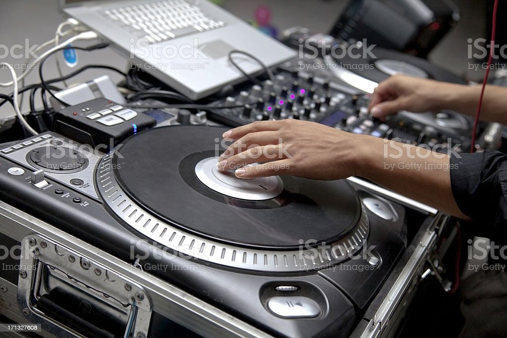 Electronic DJ sound board stock photo