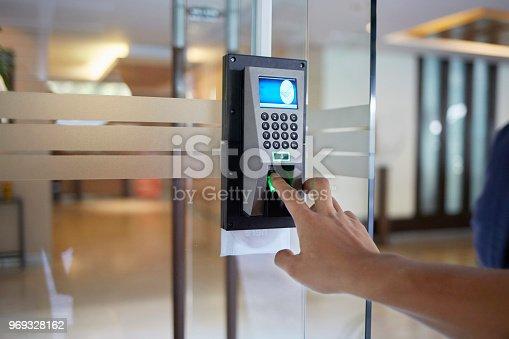 istock Electronic door  control device 969328162