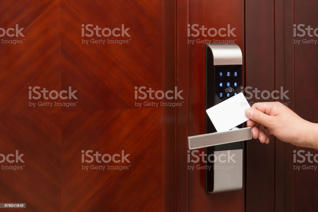 electronic door lock opening by an blank security card good for adding text and logo stock photo