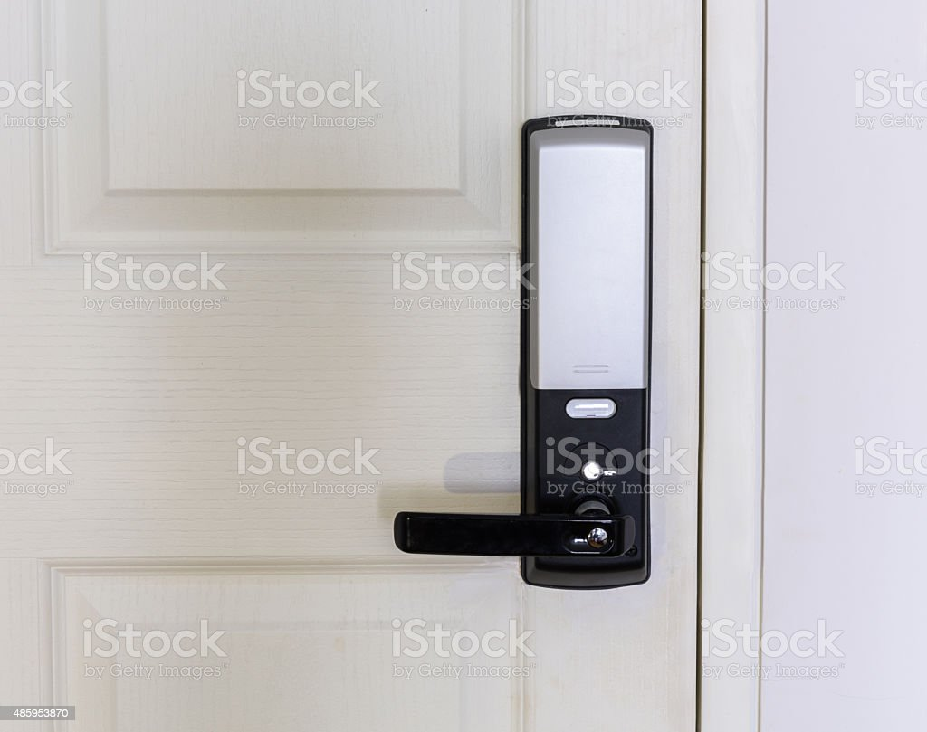 Electronic door lock stock photo