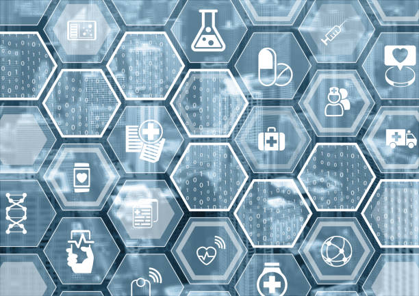 Electronic e-healthcare blue and grey background stock photo