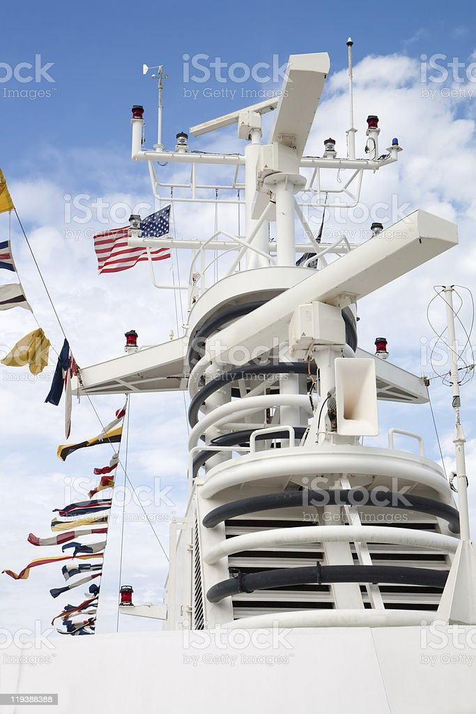 Electronic equipment mast on a cruise ship royalty-free stock photo