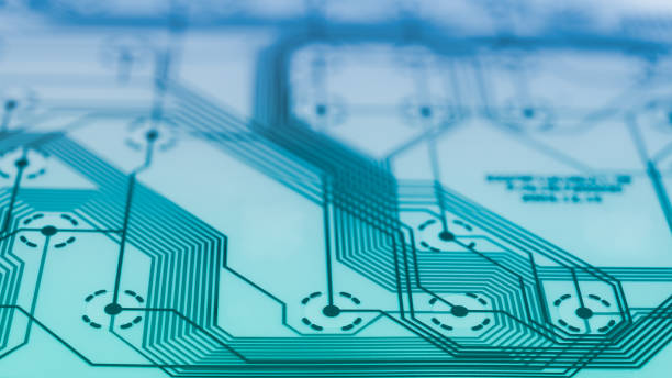 Electronic flex circuit sheet detail. Abstract technical background with PCB, lines and nodes stock photo