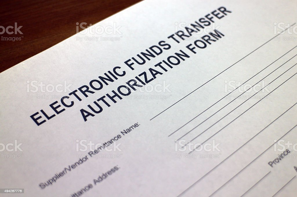 Electronic Funds Transfer Authorization Form stock photo