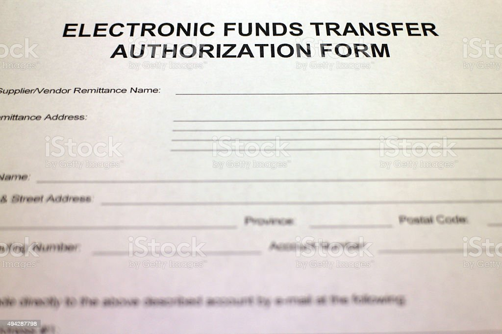 Electronic Funds Transfer Authorization stock photo