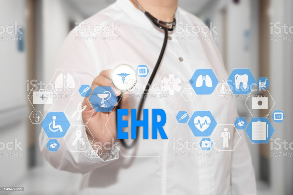 Electronic health record. EHR on the touch screen with medicine icons on the background blur Doctor in hospital. Innovation treatment, service, data analysis health. Medical Healthcare Concept Electronic health record, EHR stock photo