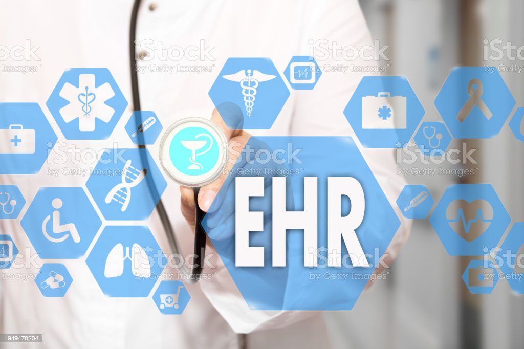 Electronic health record. EHR on the touch screen with medicine icons on the background blur Doctor in hospital.Innovation treatment, service, data analysis health. Medical Healthcare Concept Electronic health record, EHR stock photo