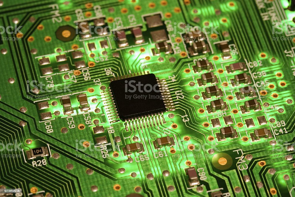 electronic high tech green computer chip technology royalty-free stock photo