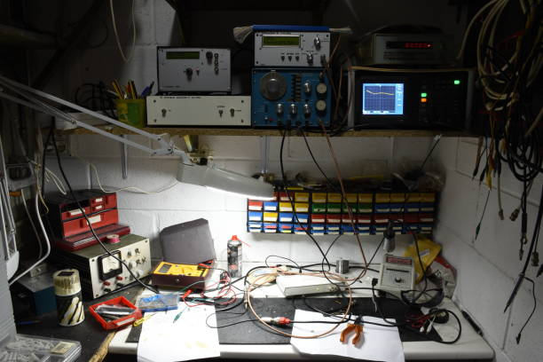 electronic hobby laboratory of an amateur radio operator - ham radio stock photos and pictures
