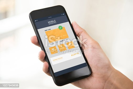 istock Electronic internet mobile banking application on smartphone screen 1027945638