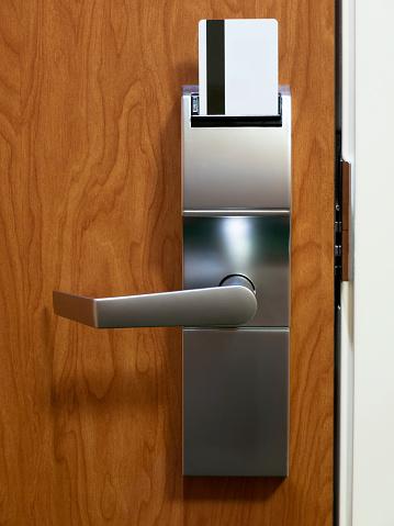 Hotel room electronic door lock with keycard