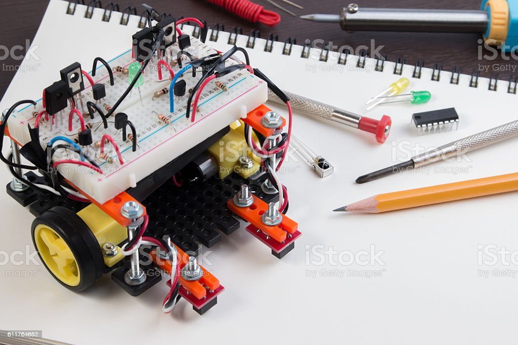 DIY Electronic Kit , Line tracking robot competition ideas. closeup. stock photo
