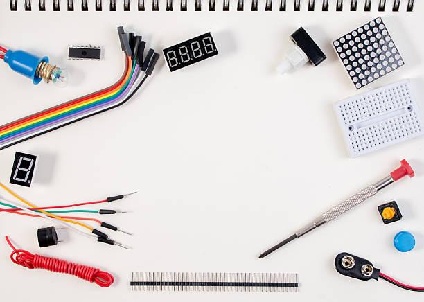 DIY Electronic Kit , Robot made on base of electronic tools. stock photo