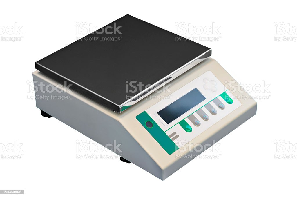 Electronic laboratory scales. stock photo