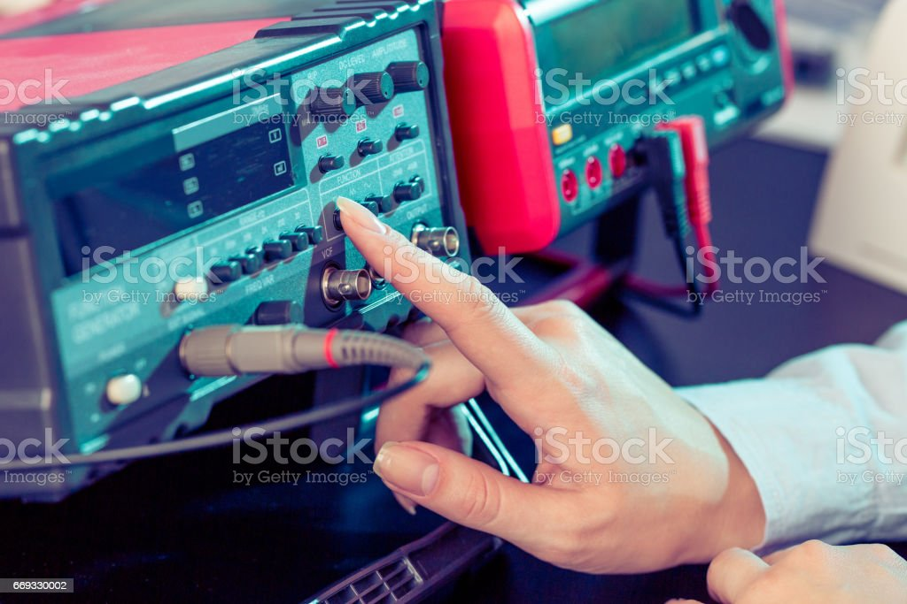 Electronic measuring device for monitoring spy electronic bugs stock photo
