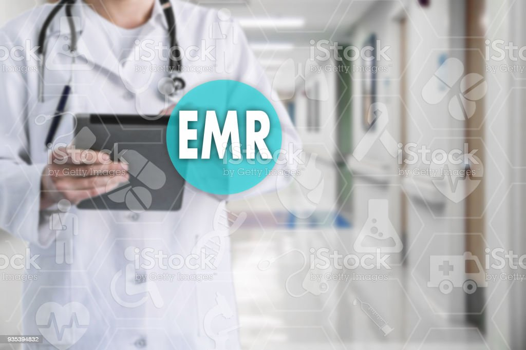 Electronic medical records. EMR on the touch screen with medicine...