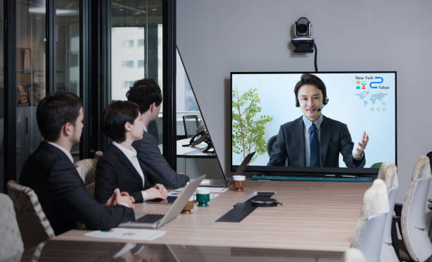 Electronic meeting concept. Teleconference. Video conference. stock photo