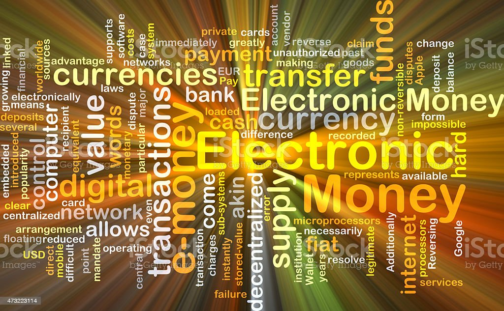 Electronic money background concept glowing stock photo