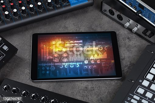 istock Electronic music instruments and tablet with reports concept 1202244767
