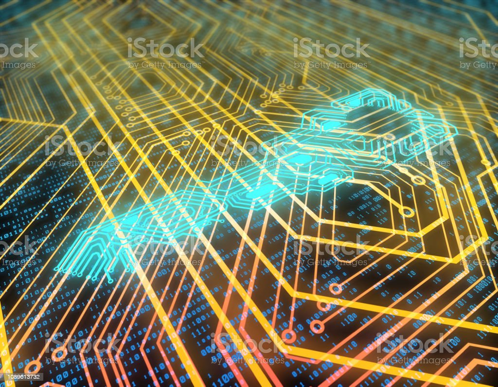 Electronic network technology, data transmission and storage, the key to the circuit board stock photo