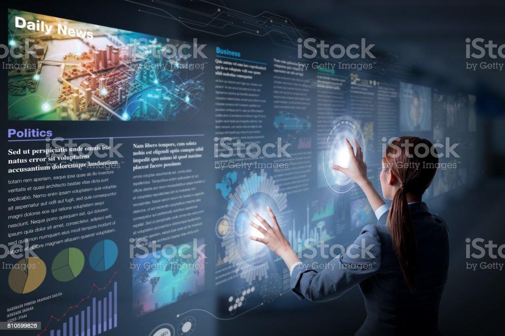 concept de journal électronique, les médias de curation, content curation, Graphical User Interface, image abstraite visuelle - Photo
