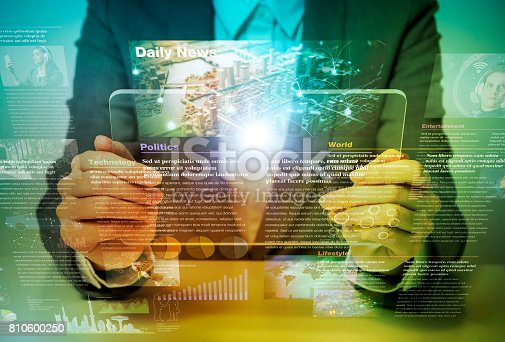 istock electronic newspaper concept, curation media, curation content, Graphical User Interface, abstract image visual 810600250