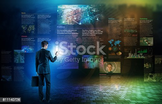 istock electronic newspaper concept, curation media, curation content, Graphical User Interface, abstract image visual 811140726