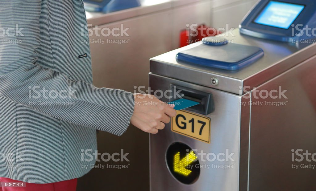 Electronic pass for Bangkok Mass Transit System. stock photo
