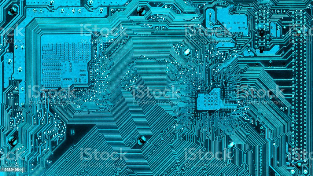 Elektronischen Wege auf der Hauptplatine. Hightech, Computer-element – Foto