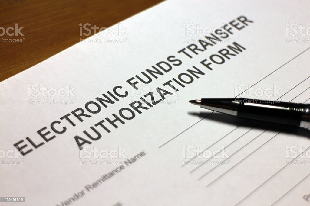 Electronic Payment Authorization Form stock photo