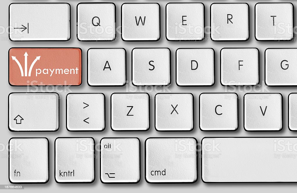 Electronic payment button on keyboard. stock photo