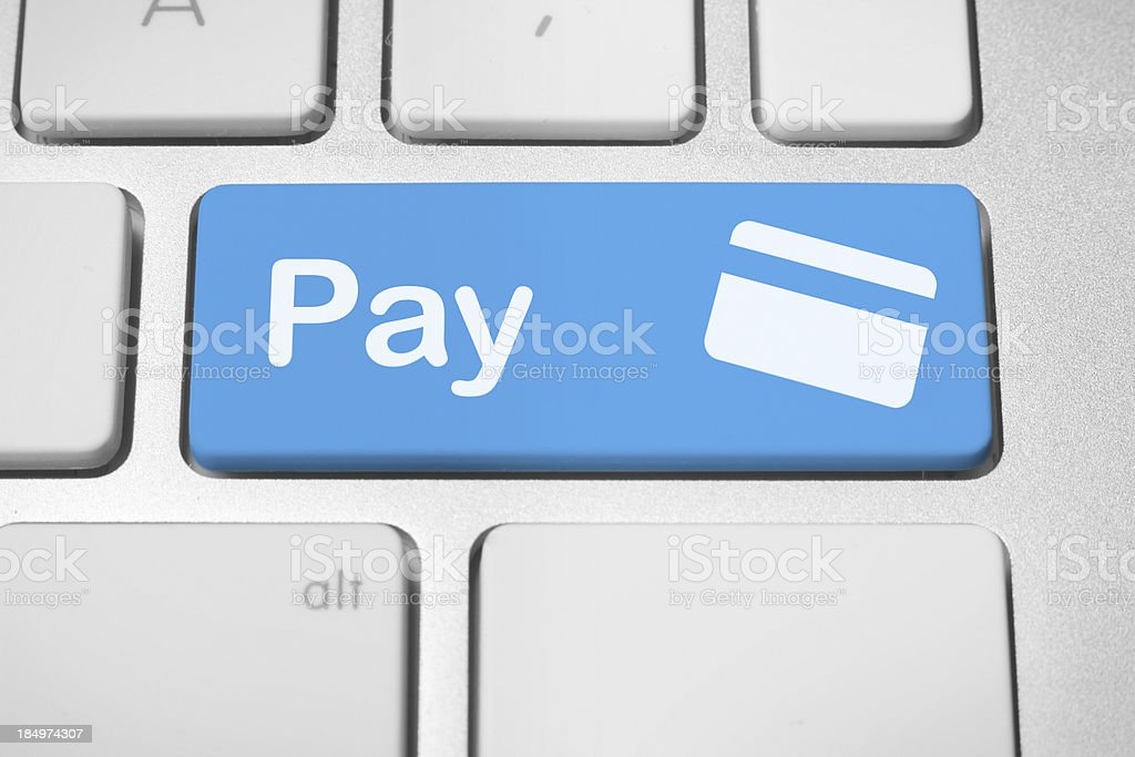 Electronic payment button stock photo