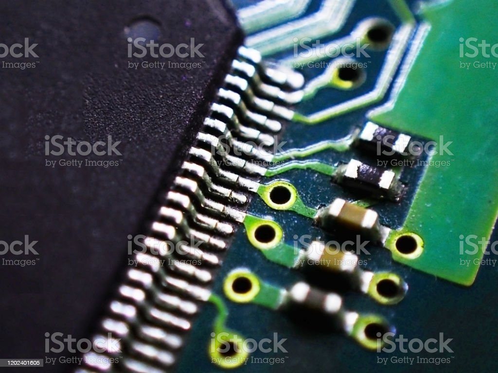 Foto De Placa De Circuito Impresso Pcb Eletronico Em Closeup Macro