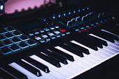 istock Electronic Piano Keyboard for studio recording Midi Keys 1221916498