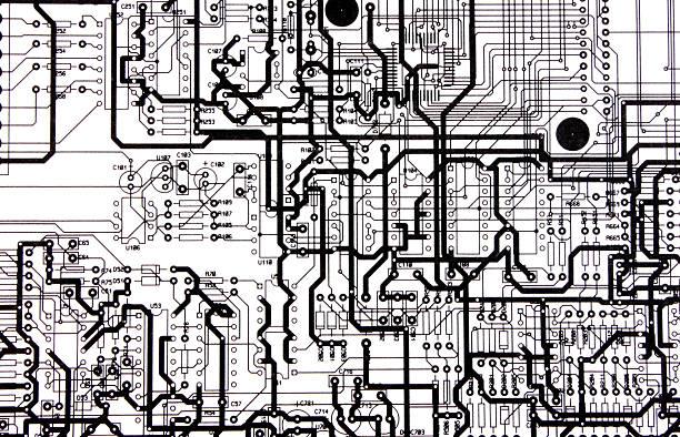 Electronic print circuit stock photo