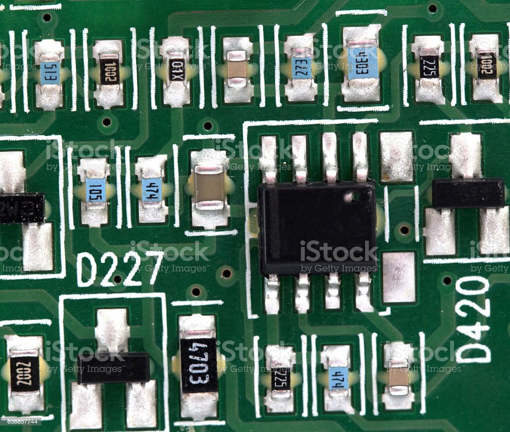 Electronic Printed Circuit Board With Many Electrical Components Computer Electronics Royalty Free Stock Photo