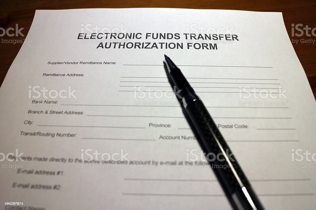 Electronic Remittance Authorization Form stock photo