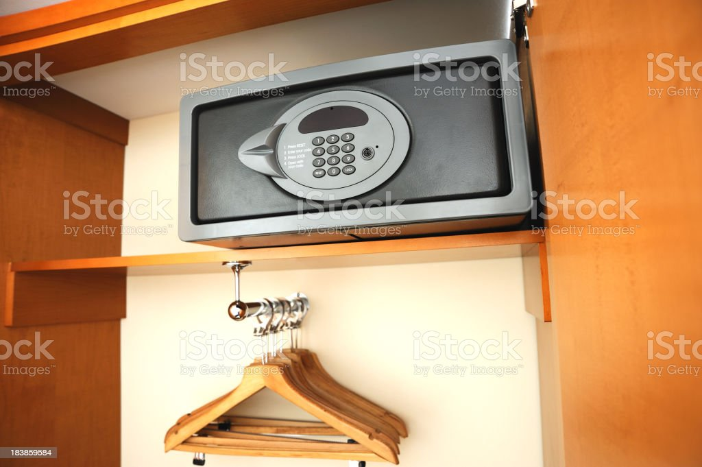 Electronic safe in hotel's wardrobe stock photo