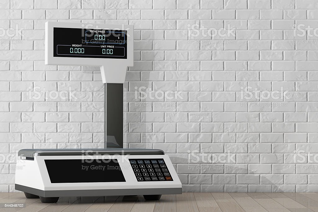 Electronic Scales for weighing Food. 3d Rendering stock photo