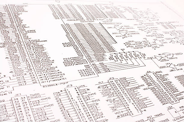 Electronic schematic stock photo