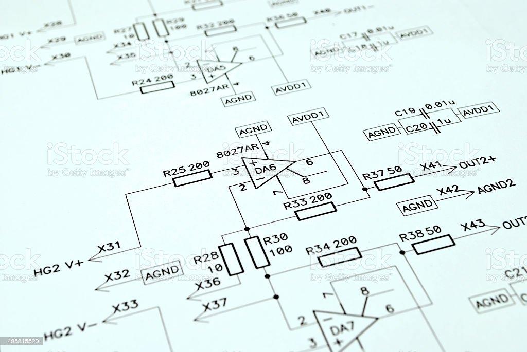 Elektronische schematic - Lizenzfrei 2015 Stock-Foto