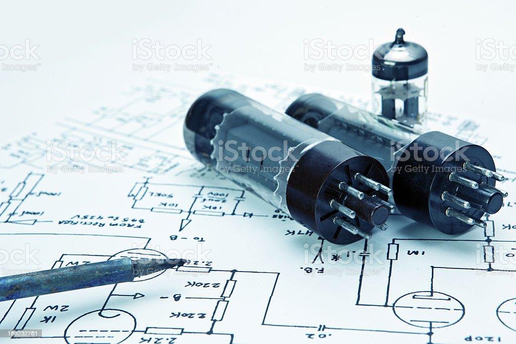 Electronic schematic tube amp stock photo