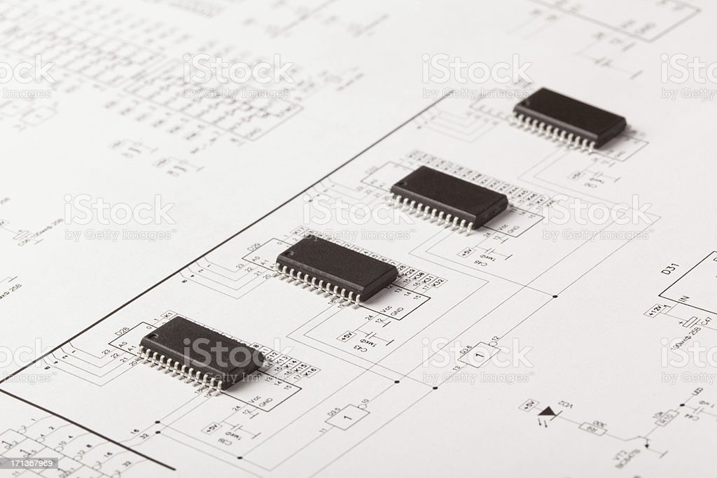 Electronic scheme stock photo