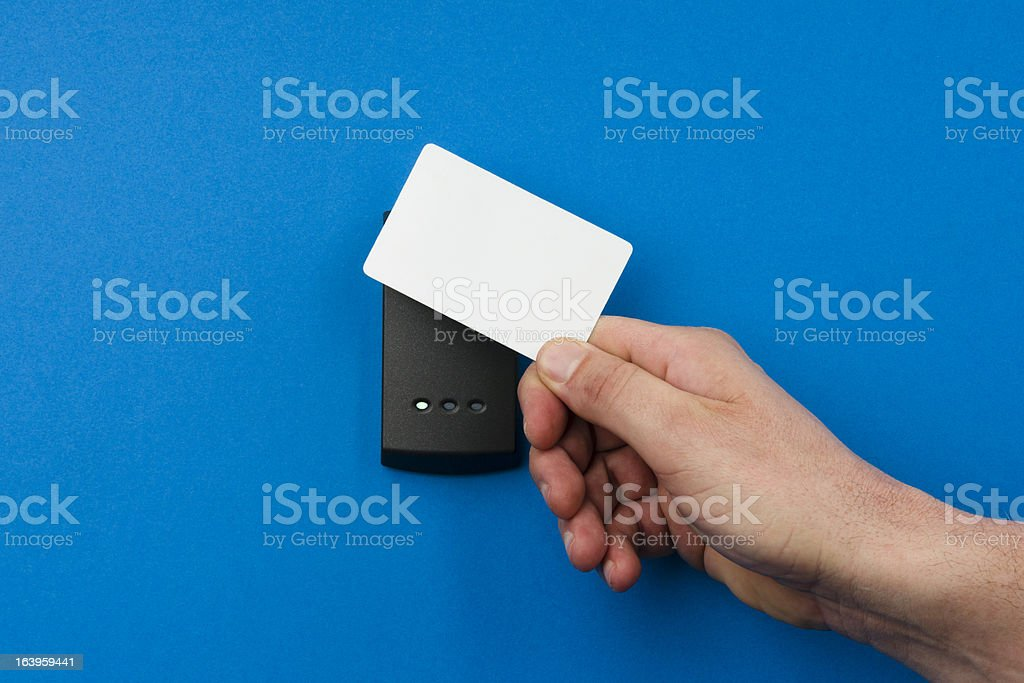 electronic security system being activated stock photo