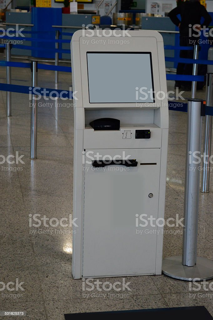 electronic self check-in ticket machine stock photo