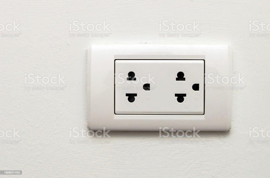 Electronic socket on white wall stock photo