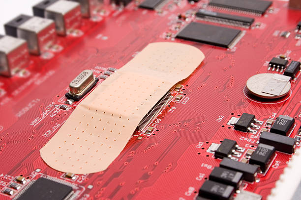Electronic software patch stock photo